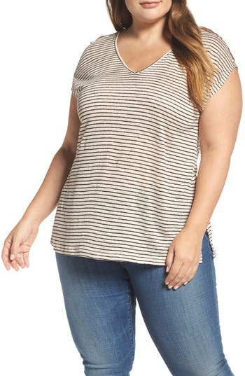 Plus Size Lucky Brand Cold Shoulder Stripe Linen Tee, Ivory