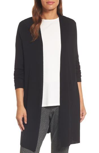 Eileen Fisher Long Merino Wool Cardigan, Black