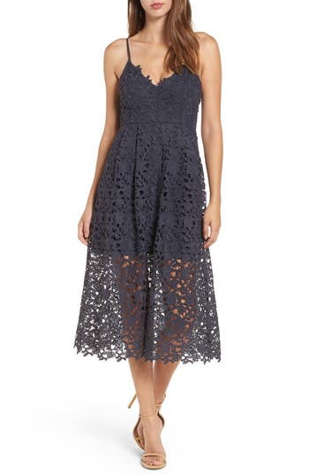 Astr The Label Lace Midi Dress, Blue