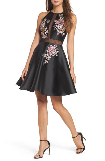 Xscape Embroidered Mikado Party Dress, Black