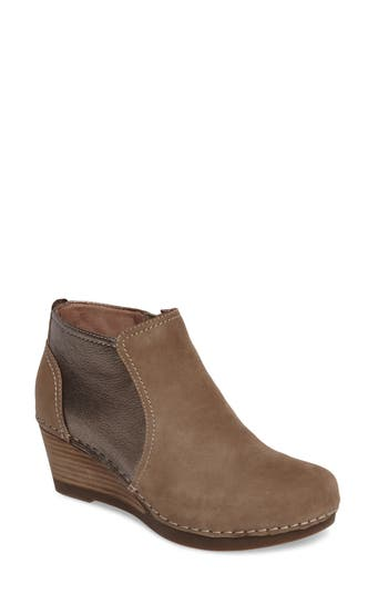 Dansko Susan Wedge Bootie-6- Brown