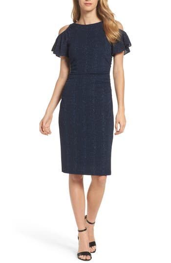 Adrianna Papell Cold Shoulder Sheath Dress, Blue