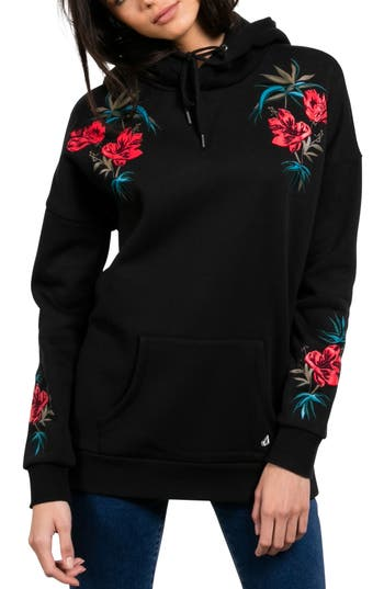 Volcom Burned Down Embroidered Hoodie, Black