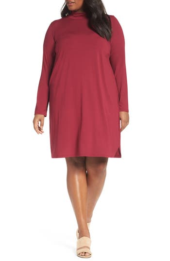 Plus Size Eileen Fisher Mock Neck Shift Dress, Red
