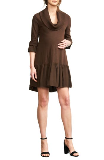 Maternal America Cowl Neck Maternity Dress, Brown