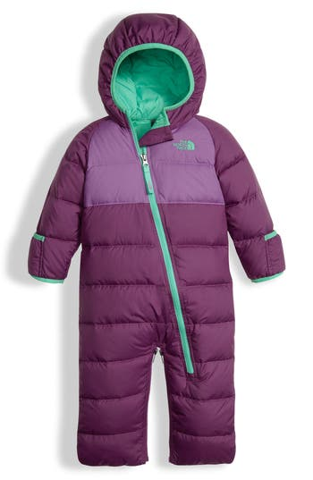 Infant Girl's The North Face Lil' Snuggler Water Resistant Down Bunting, Size 0-3M - Purple