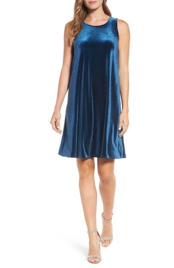 Halogen Velvet Trapeze Dress, Blue/green