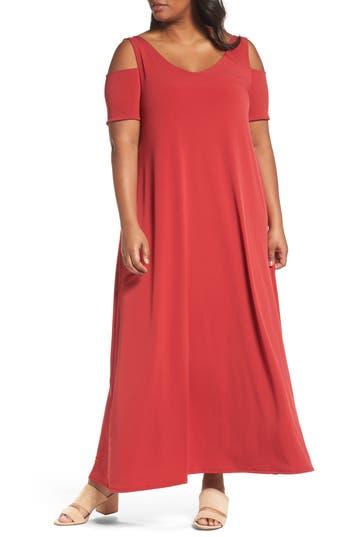 Plus Size Sejour Knit Cold Shoulder Maxi Dress, Red