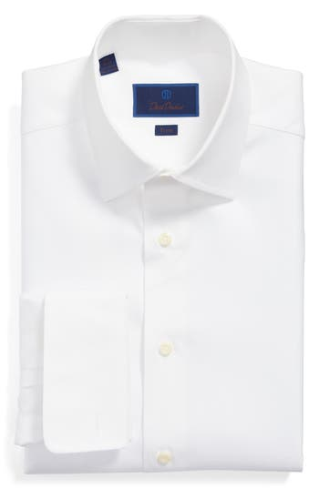 David Donahue Trim Fit Solid French Cuff Dress Shirt