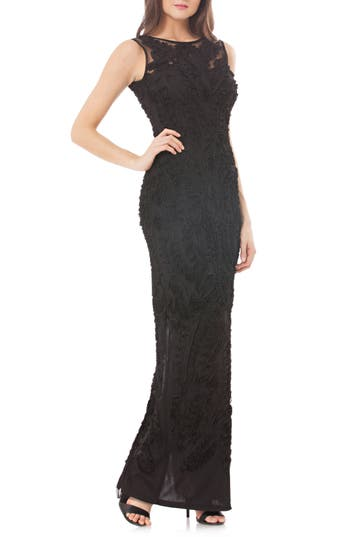 Js Collections Mesh Column Gown, Black