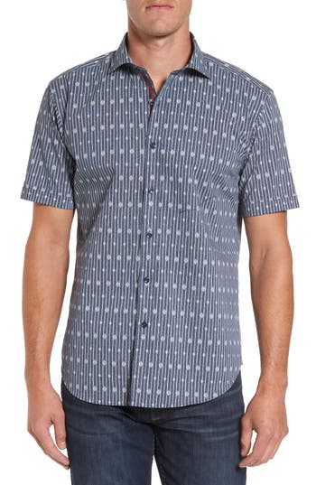 Men's Bugatchi Shaped Fit Diamond Stripe Print Sport Shirt