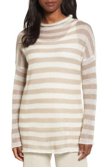 Women's Eileen Fisher Stripe Mohair Blend Sweater, Size Small - Beige