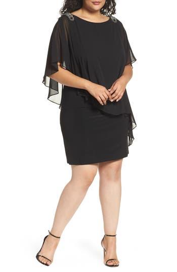 Plus Size Xscape Embellished Chiffon Overlay Jersey Dress