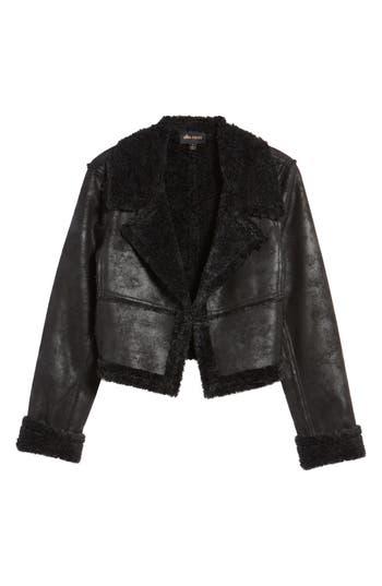 Women's Ella Moss Claudine Faux Shearling Moto Jacket, Size X-Small - Black