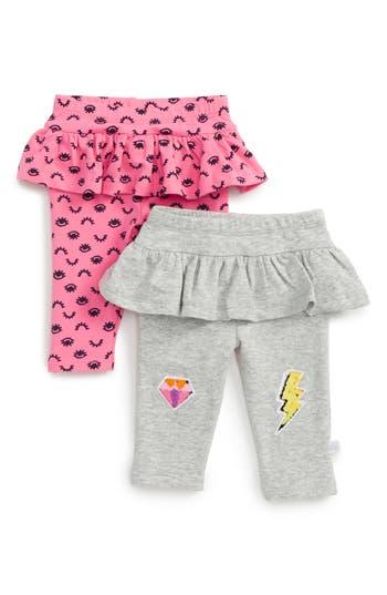 Infant Girl's Rosie Pope 2-Pack Ruffle Leggings, Size 0-3M - Grey