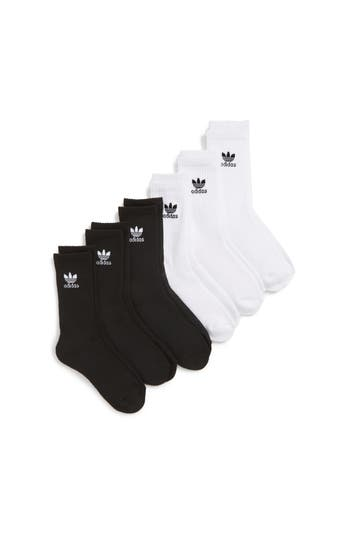 Boys Adidas Trefoil 6Pack Crew Socks Size 134  White