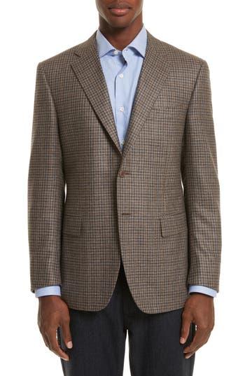 Canali Classic Fit Check Silk & Wool Sport Coat, 2 US / 5R - Beige