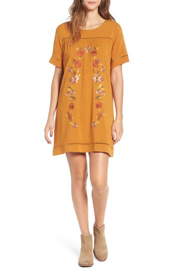 Love, Fire Embroidered Dress, Brown