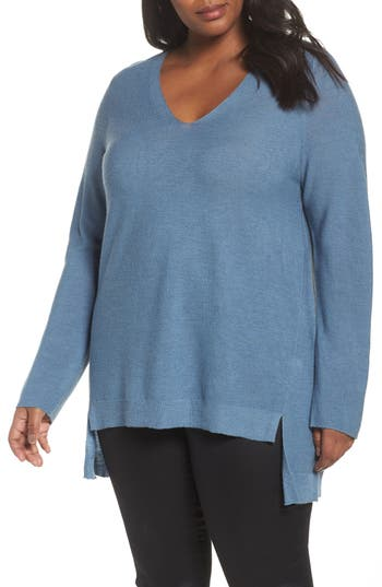 Plus Size Eileen Fisher High/low Merino Wool Sweater, Blue
