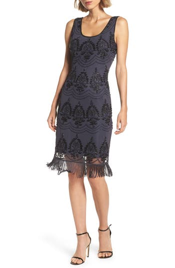 Women's Pisarro Nights Beaded Fringe Hem Sheath Dress, Size 2 - Blue