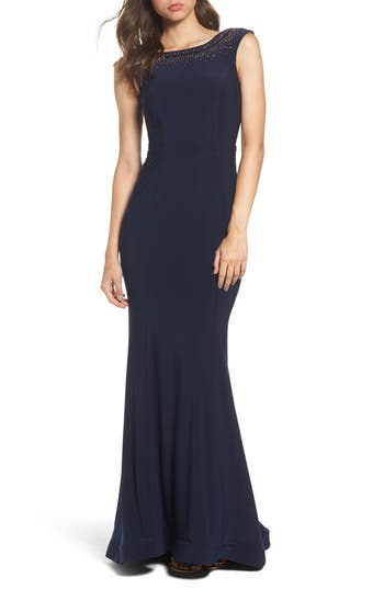 Xscape Beaded Ruffle Back Jersey Trumpet Gown, Blue
