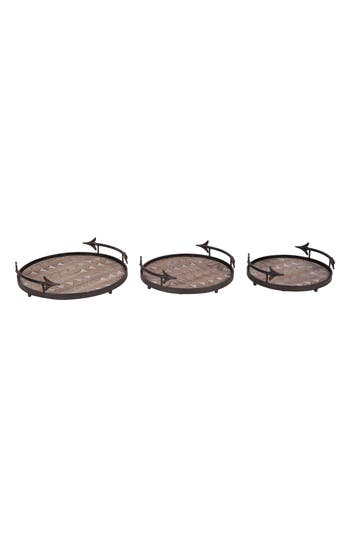 Foreside Arrow Set Of 3 Nesting Trays, Size One Size - Brown