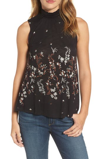 Women's Lucky Brand Mock Neck Floral Top, Size X-Small - Black