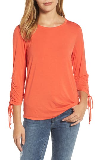 Women's Bobeau Tie Sleeve Top, Size Medium - Orange