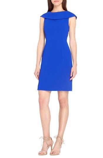 Tahari Roll Neck Sheath Dress, Blue
