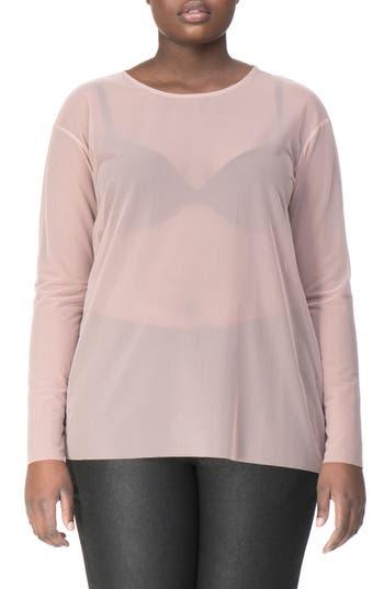 Plus Size Women's Universal Standard Thames Fog Sheer Mesh Top