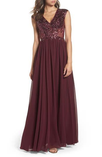Sean Collection Embellished Mesh & Chiffon Gown, Burgundy