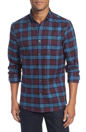Nordstrom Shop Tech-Smart Slim Fit Plaid Sport Shirt, Red