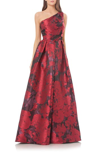 Carmen Marc Valvo Couture Print One-Shoulder Ballgown, Red