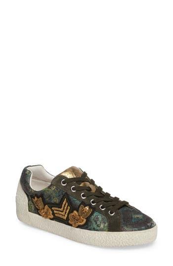 Ash Embellished Low-Top Sneaker Green