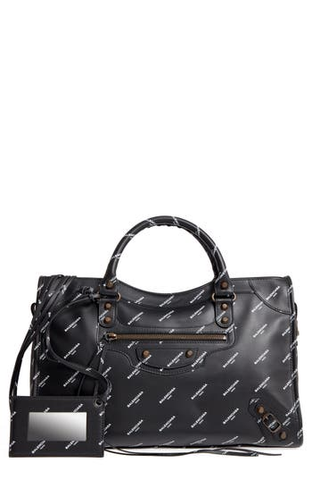 Balenciaga Classic City Logo Leather Tote - Black at NORDSTROM.com