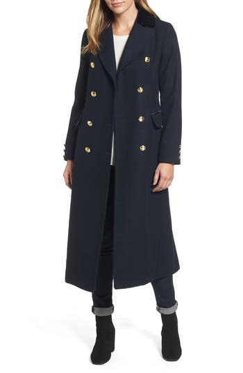 Women's Laundry By Shelli Segal Maxi Double Breasted Wool Blend Military Coat, Size X-Small - Blue
