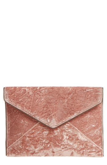 Rebecca Minkoff Leo Velvet Envelope Clutch - Pink