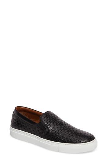 Aquatalia Ashlynn Embossed Slip-On Sneaker, Black