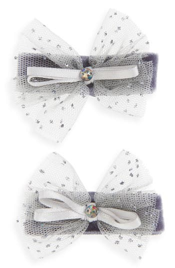 Plh Bows  Laces 2Pack Tulle Bow Clips