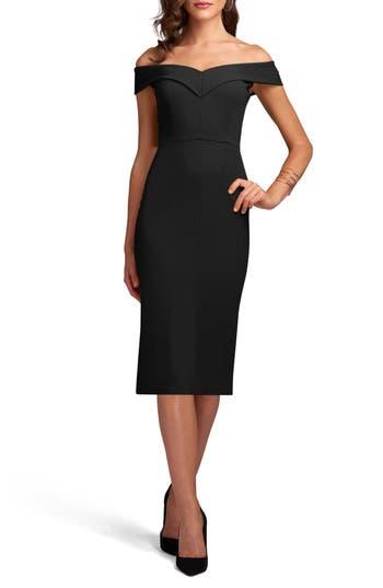 Eci Off The Shoulder Sheath Dress, Black