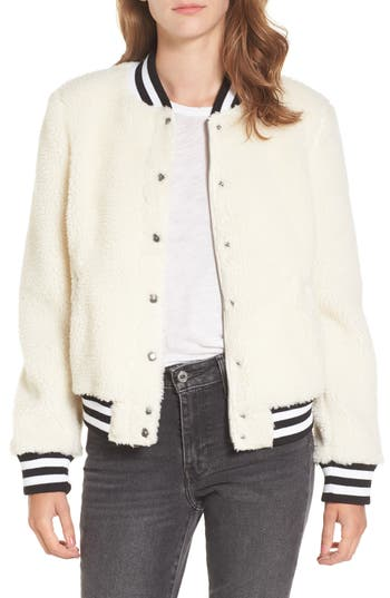 Women's Levi'S Faux Shearling Bomber Jacket, Size X-Small - Ivory
