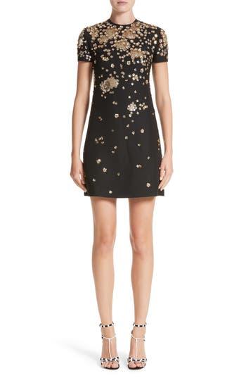 Women's Valentino Embellished Wool & Silk Crepe Dress, Size 2 US / 38 IT - Black