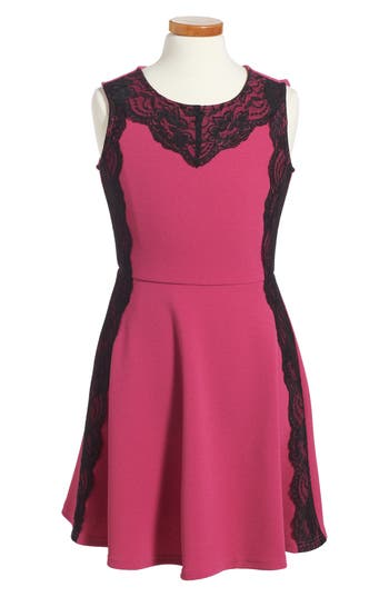 Girl's Blush By Us Angels Lace Trim Pique Dress, Size 7 - Red