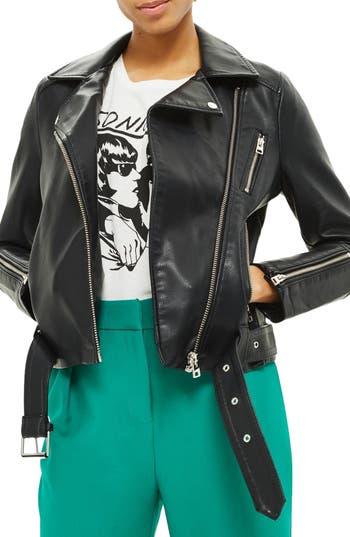 Women's Topshop Willow Faux Leather Biker Jacket, Size 8 US (fits like 6-8) - Black