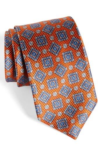 Men's David Donahue Medallion Silk Tie, Size Regular - Orange
