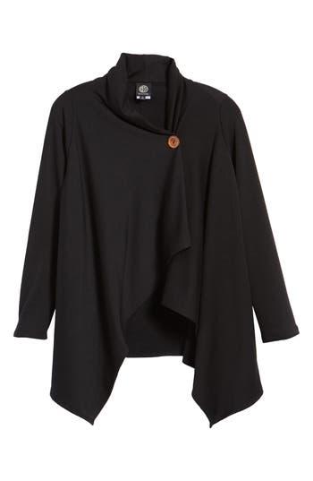 Women's Bobeau One-Button Fleece Wrap Cardigan, Size X-Small - Black