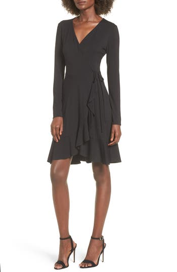 Women's Soprano Ruffle Wrap Dress, Size X-Small - Black
