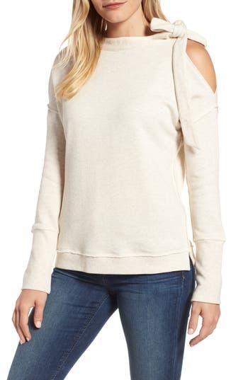 Caslon Tie Cold Shoulder Sweatshirt, Beige