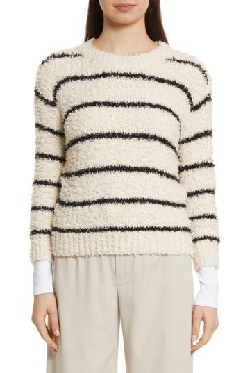 Women's Vince Fuzzy Stripe Sweater, Size X-Small - Ivory