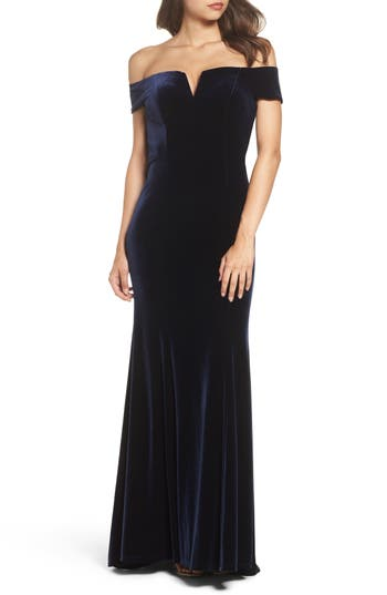 Vince Camuto Notch Neck Velvet Off The Shoulder Gown, Blue